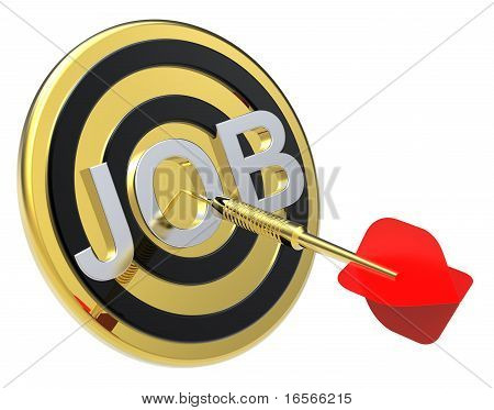 Red dart on a gold target with text on it.