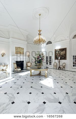 Large grand foyer on luxury home