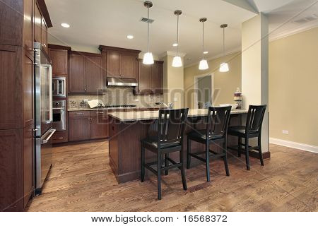 Kitchen in luxury town home with breakfast bar