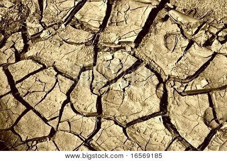 close up of gekracht Boden in der Wüste
