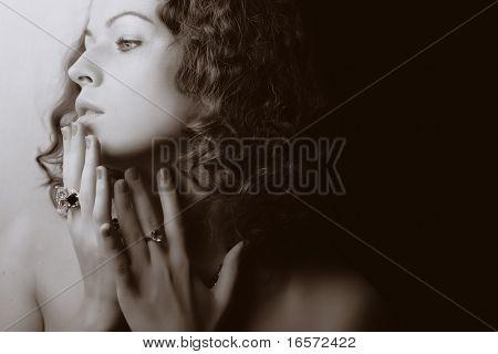 Beautiful woman. Fashion art photo.  Jewelry and Beauty