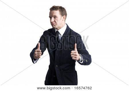 negócios jovem homem indo polegar acima, isolado no branco