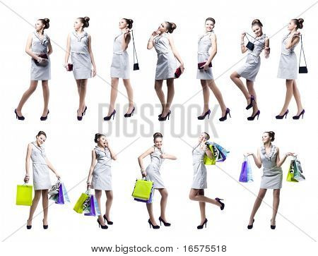 Young beautiful woman with shopping bags and handbag. Isolated on white background
