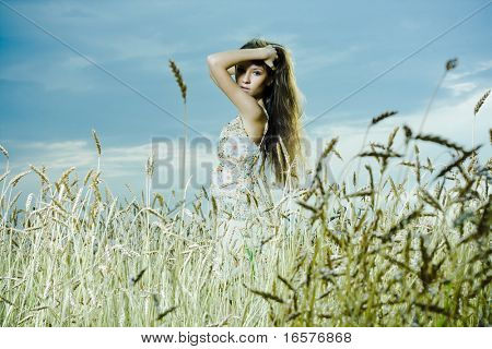 beautiful brunette girl at the field. Fashion photo