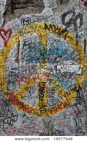 Symbolic graffiti on the last remnants of the Berlin wall in Germany