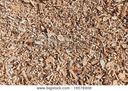 Mulch made of wood chips shot in natural light
