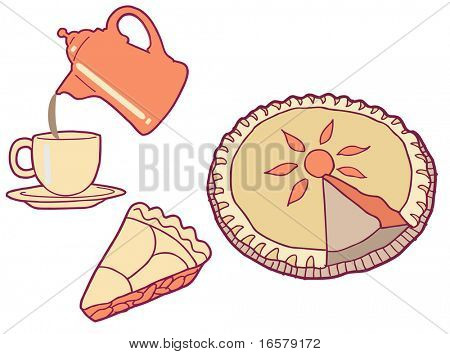Homemade Pie & Coffee Vector Illustration