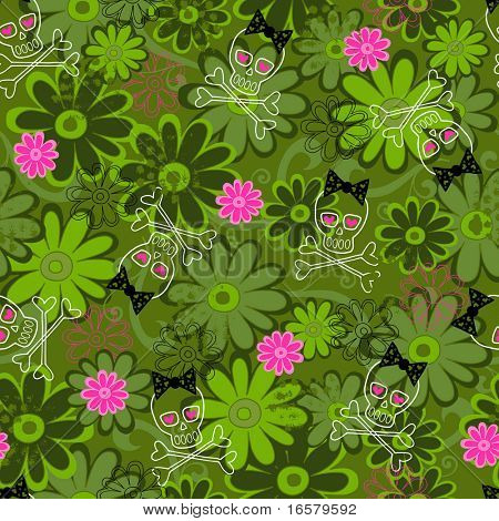 Girly Punk Skulls on Flower Camo background Seamless Repeat Pattern Vector Illustration