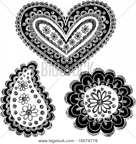Reversed Sketchy Doodle Henna Vector Illustration