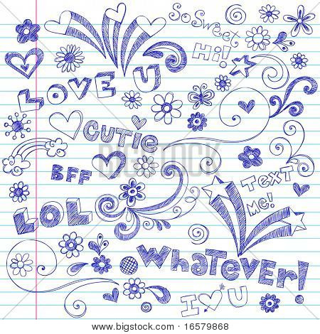 Hand-Drawn Lettering and Sketchy Doodles on Lined Notebook Paper Vector
