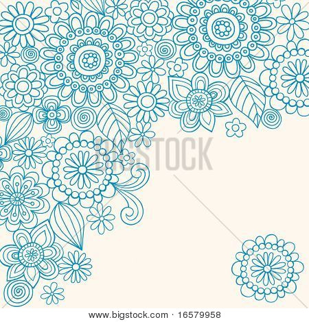 Hand-Drawn Abstract Henna Doodles and Flowers Vector Illustration