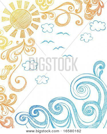 Sunny Summer Day and Ocean Waves Hand-Drawn Sketchy Notebook Doodles Vector Illustration