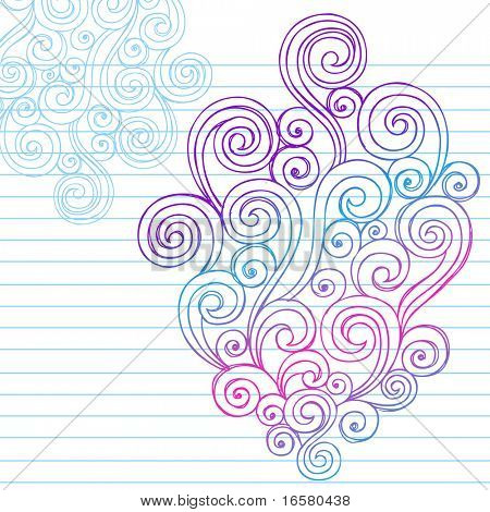 Hand-Drawn Abstract Swirls Sketchy Doodles on Lined Notebook Paper Vector Illustration