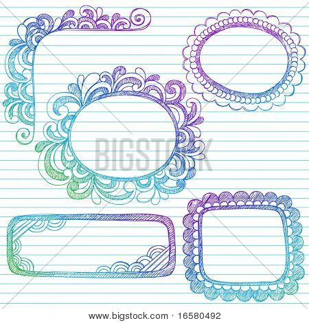 Hand-Drawn Abstract Sketchy Notebook Doodle Frames and Borders Design Element on Lined Notebook Paper Background- Vector Illustration