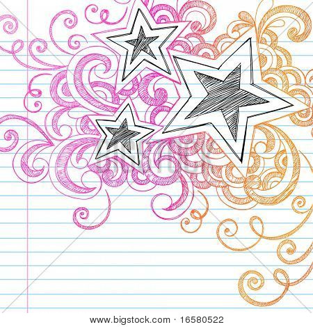 Hand-Drawn Abstract Stars Sketchy Notebook Doodles Design Elements on Lined Paper Background- Vector Illustration