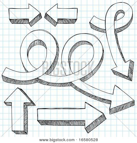 Hand-Drawn Sketchy 3D Direction Arrow Notebook Doodles Design Elements- Vector Illustration