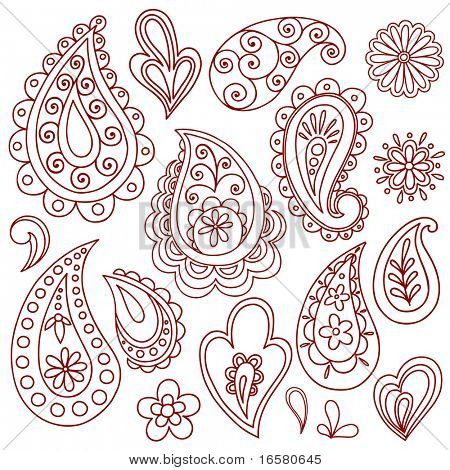 Hand-Drawn Abstract Henna (mehndi) Paisley Vector Illustration Doodle Design Elements