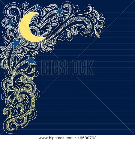 Hand-Drawn Sketchy Moon, Stars, and Swirls Notebook Doodles- Vector Illustration on Lined Sketchbook Paper Background