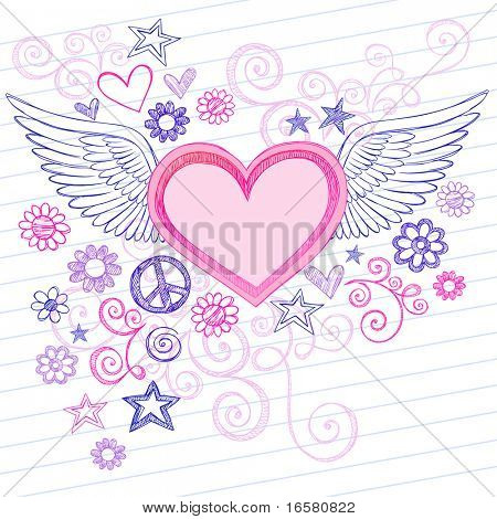 Hand-Drawn Sketchy Heart with Angel Wings Doodles with Stars, Flowers, and Peace Sign on Lined Notebook Paper Background- Vector Illustration