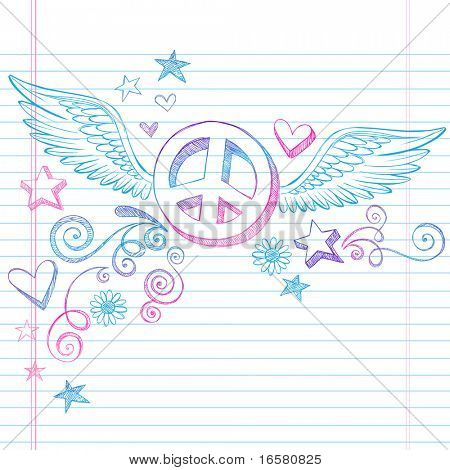 Hand-Drawn Sketchy Peace Sign Doodle with Angel Wings and 3D Stars on Lined Notebook Paper Background- Vector Illustration