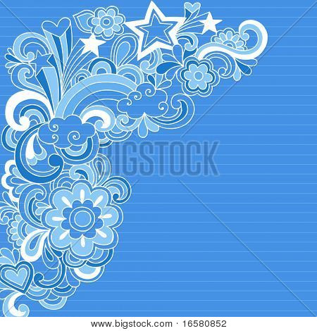 Hand-Drawn Psychedelic Groovy Rainbow and Stars Notebook Doodles on Blue Lined Sketchbook Paper Background- Vector Illustration