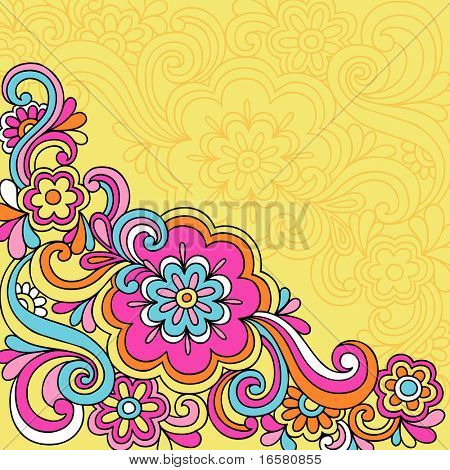 Hand-Drawn Psychedelic Groovy Flower and Swirls Notebook Doodles on Yellow Background- Vector Illustration