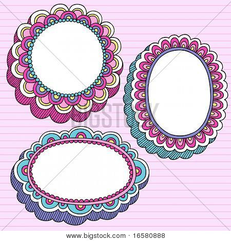 Hand-Drawn Psychedelic Groovy Notebook Doodle Set of 3D Flower Frames- Design Elements on Pink Lined Sketchbook Paper Background- Vector Illustration