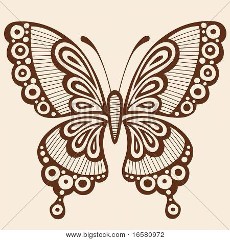 Ornate Hand-Drawn Butterfly Silhouette Tattoo Vector Illustration Design Element