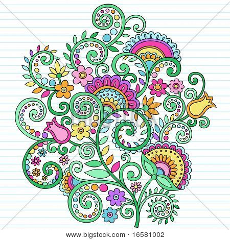 Hand-Drawn Flowers and Vines Psychedelic Groovy Notebook Doodles Design Element on Lined Sketchbook Paper Background- Vector Illustration