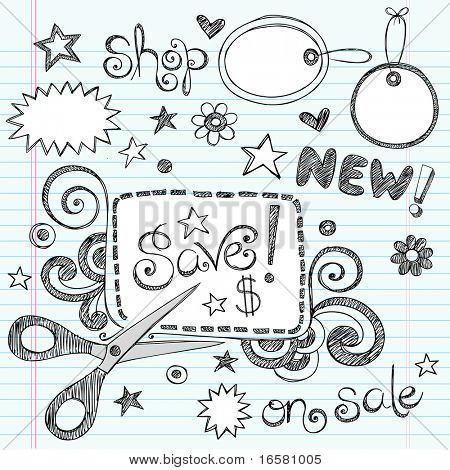 Hand-Drawn Sketchy Notebook Doodles Sale & Shopping Coupon & Apparel Tags Vector Illustration Design Elements on Lined Sketchbook Paper Background