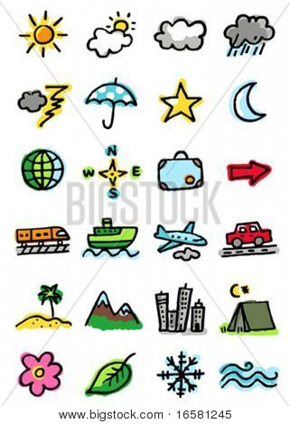 Weather, travel, tourism and nature icons