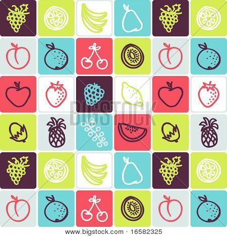 fruits check pattern - illustrations - icons set -