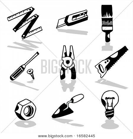 Tools icons 2 - illustrations - icons set -
