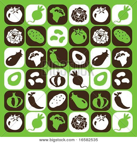 Vegetables checked pattern - illustrations - icons set -