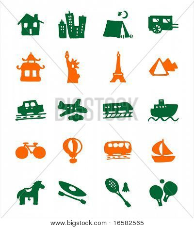 color block icons - holidays - illustrations - icons set -