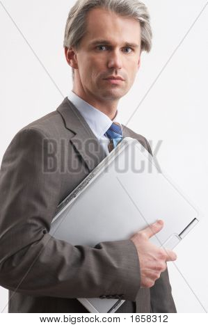 Businessman With Laptop Notebook