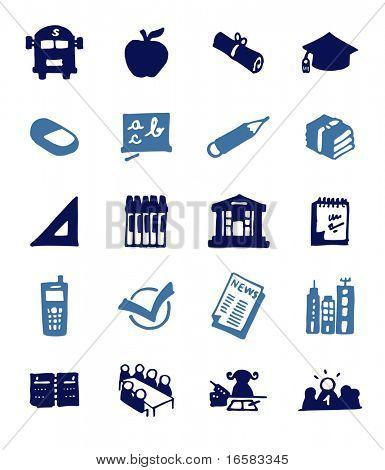 color block icons - school - illustrations - icons set -