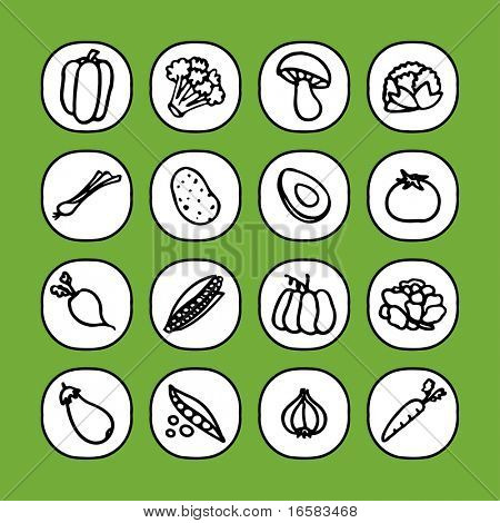 black and white icon set - vegetables -
