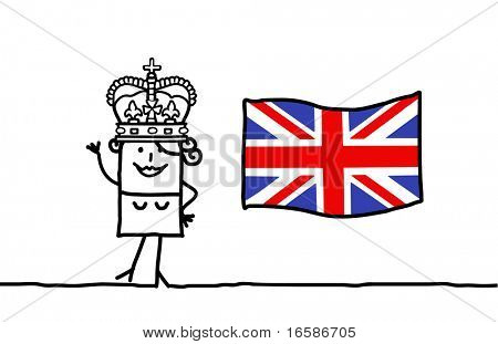 Queen and and England flag