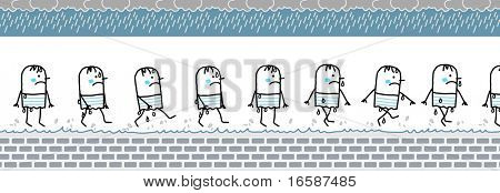 cold & wet man -walking cartoon character for animated sprite