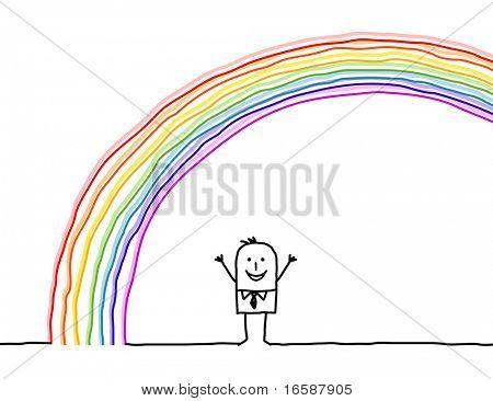 hand drawn cartoon character - man under the rainbow
