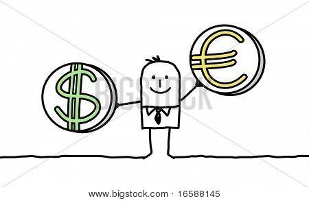 man with dollar & euro