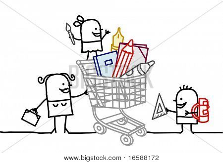 shopping cart & school supplies
