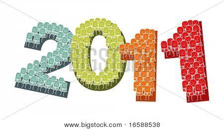hand drawn cartoon characters - 2011 & new Year