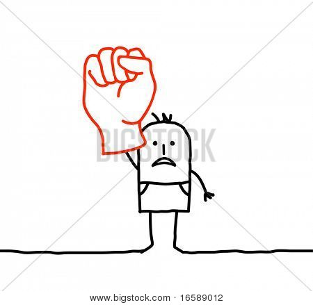 hand drawn cartoon characters - raised fist