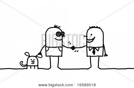hand drawn cartoon characters - blind man shaking hand with friendly people