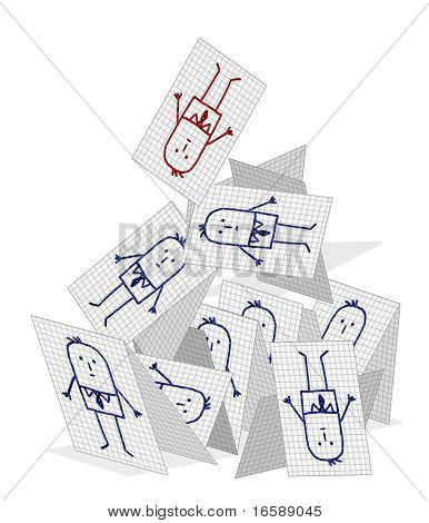 hand drawn cartoon characters on checked paper - collapsing company teamwork