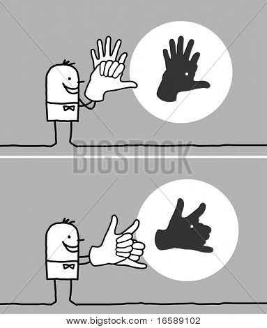 hand drawn cartoon characters - man making animal shadows with his hands