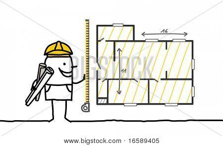 foreman measuring a plan