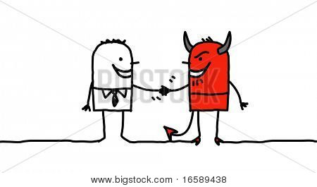 man making a pact with the devil